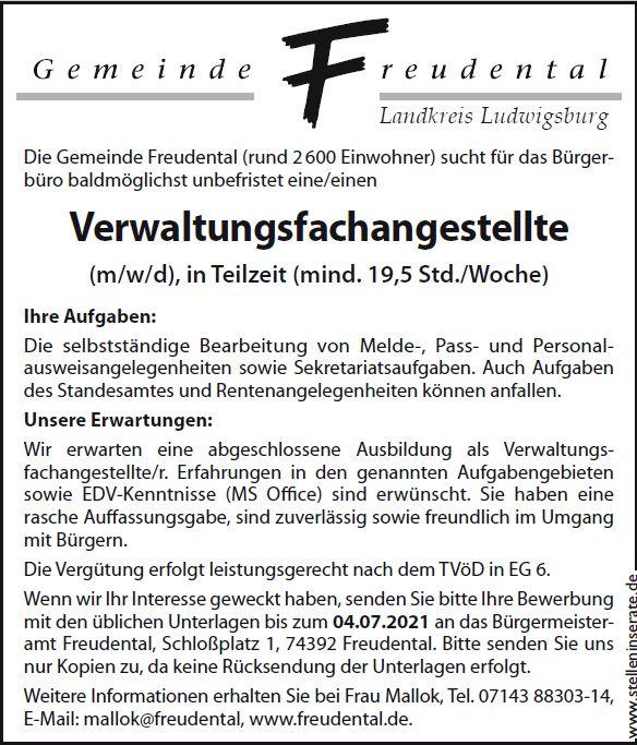 Stellenangebot Bürgerbüro Verwaltungsangestellte (m/w/d) in Teilzeit