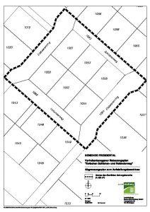 Planausschnitt Bebauungsplan zwischen Schlehen- und Holunderweg